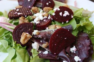 Beet, Goat Cheese and Candied Walnut Salad